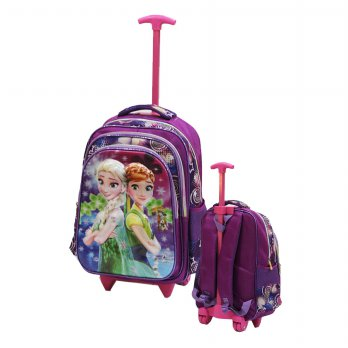 Tas Trolley SD Import Frozen Fever5D Timbul Hologram 3 Kantung - Ungu