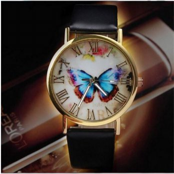 Jam Tangan Wanita Fashion Import Butterfly Style Leather Strap Black