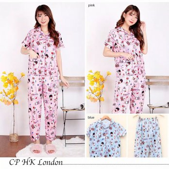 Piyama CP Satin HK London Dewasa