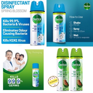 Dettol Disenfektan Spray 170gr 225ml Spring blossom Pine Kills cold virus