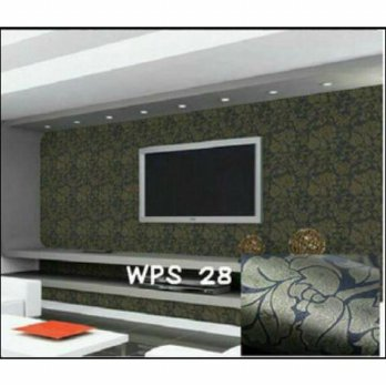 WALLPAPER STICKER 10m Motif Batik Gold Dasar Hitam