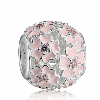 Pink Flower Charm Silver Plated, Super Quality