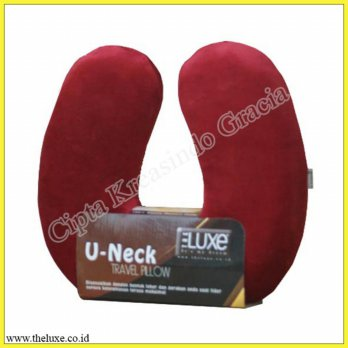 Bantal Leher |Travel Pillow |U-NECK Memory Foam The LUxe - Red