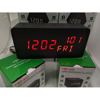 Jam Meja Digital Led Weker / Digital Wood Alarm Clock
