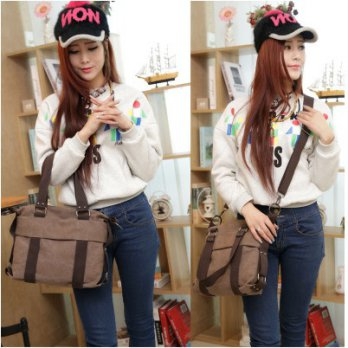 Tas Wanita Import Kanvas Selempang [Kode:DIANA] / Ladies Canvas Hand Bag / Shoulder Bag