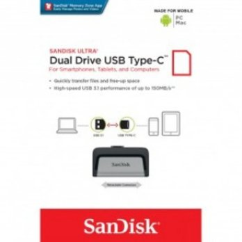 Flashdisk-SanDisk Ultra Dual USB Drive Type-C 256GB - SDDDC2-256G - Black