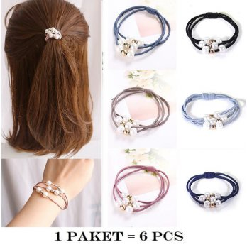 IK06 Ikat Rambut Korea Elatis Pearl and Gold 6 pcs
