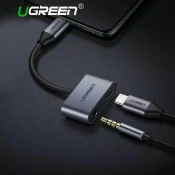 Ugreen 2 in 1 Adapter Tipe C to Jack Audio 3.5mm Type c to aux UGREEN