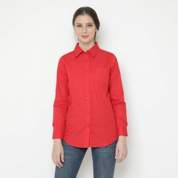 Mobile Power Ladies Pocket Basic Long Sleeve Shirt - Red JA8312