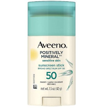 Aveeno Positively Mineral Sensitive Skin Sunscreen Stick SPF50 42g