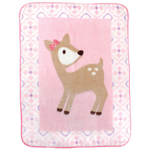 LUVABLE FRIENDS HIGH PILE CHARACTER BLANKET - DEER GIRL