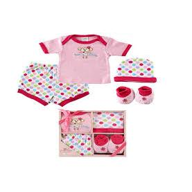 Luvable Friends 4-Piece Baby Layette Gift Set, 0-6 Months-Girl