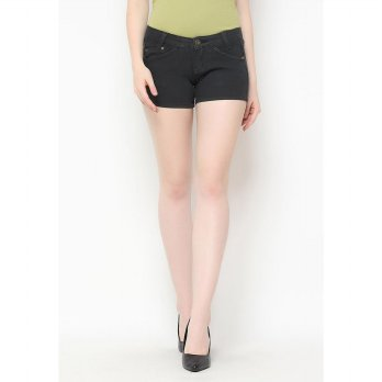 Mobile Power Ladies Basic Color Short Pants Denim - Dark Grey B5511