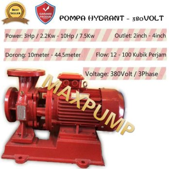 Mesin Pompa Air Pompa Pendorong 10Hp 380 Volt Fire Pump 3 Inch 3 Phase
