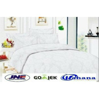 BED COVER SET Polos Warna Putih / Sprei Hotel Tinggi 30