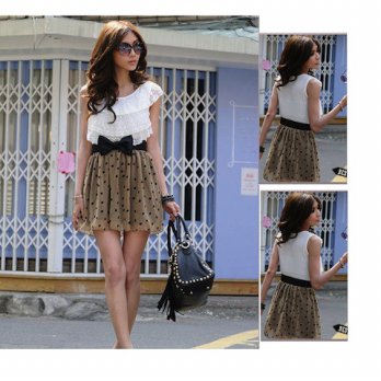 Dress Khaki Polkadot Tanktop Lace Slim Fit Body (SS D 50A)