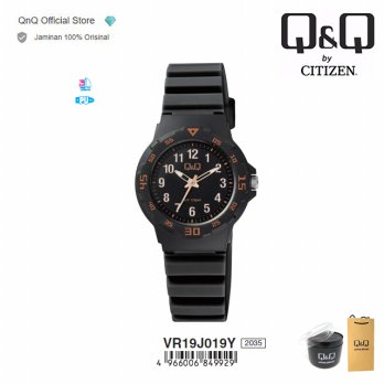 Q&Q Original Jam Tangan Wanita Fashion Analog Rubber - VR19 VR19J / QnQ QQ | Water Resist 10 BAR