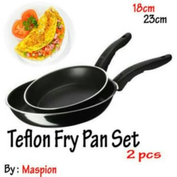 Fry Pan Set / Teflon Set ISI 2 18CM dAN 23CM / Maspion Wajan Anti Lengket Best Seller