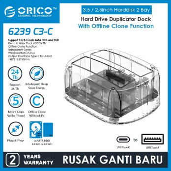ORICO HDD Docking 2 Bay 2.5 / 3.5inch Type-C Transparent - 6239C3-C