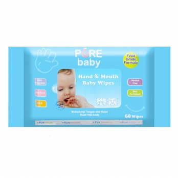 Pure Baby Hand & Mouth Wipes Tissue Basah Aloe Vera Isi 60s