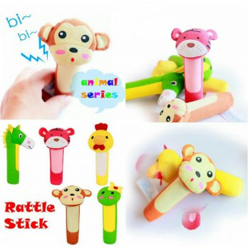 Rattle Stick Animal Head Series 5 Motif - Mainan bayi bunyi Toet