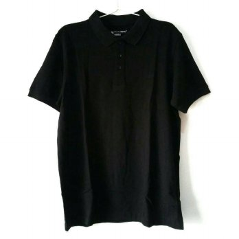 Kalibre Men Kaos Polo Shirt Pria Cotton Pique Katun Hitam Polos Black
