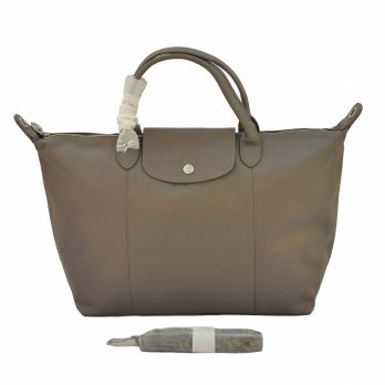 TAS BRANDED WANITA AUTHENTIC LONGCHAMP LE PLIAGE CUIR MEDIUM ORIGINAL WITH LONG STRAP - BEIGE