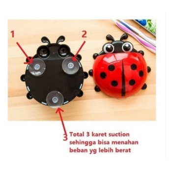 BS Tempat Sikat Gigi Odol Kumbang Lady Bug Tooth Brush Holder Tempel