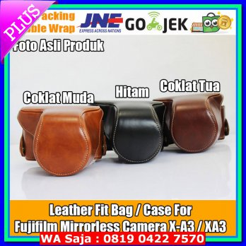 (Tas & Casing Kamera) Leather Bag Fujifilm Mirrorless X-A3/XA3 Bahan Kulit Sintetis