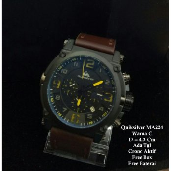 Jam Tangan Pria / jam Quiksilver Crono Leather DarkBrown In Yelllow