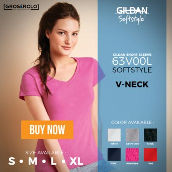 Kaos Polos Gildan V Neck Ladies Cewek 63V00L Import Original Murah