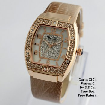Jam Tangan Wanita / cewek / jam Murah Guess Frisha Light Brown + Box