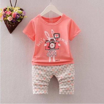 STELAN ANAK ATASAN ORANGE RABBIT + PANTS (RSBY-2894)