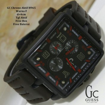 Jam Tangan Pria / Cowok / Jam Murah GC Crono Aktif Star Dark Brown Red