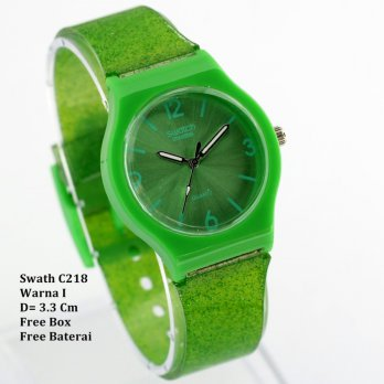 Jam Tangan wanita / Jam tangan Murah Swatch Neo Green Color + Box