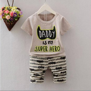 STELAN ANAK ATASAN GREY DADY IS MY HERO + PANTS (RSBY-2895)
