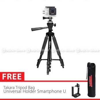 (Best Seller) Takara Tripod Eco-173A With Pouch/Tas & Holder U Smartphone