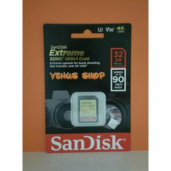 SANDISK SDHC 32GB EXTREME UP TO 90MB/S - SD CARD EXTREME 32 GB 90 MBPS