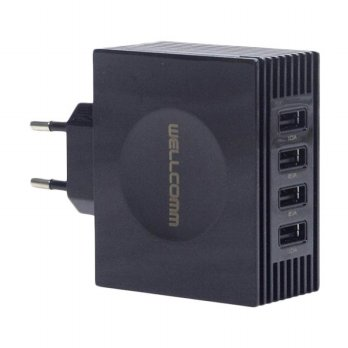 Wellcomm 4 Port USB Charger - Hitam [Real Output 4.2A]