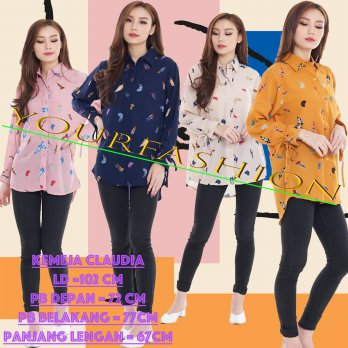 YourFashion Kemeja Printing Wanita Claudia / Womens Top / Kemeja Ladies / Kem Retro Ladies