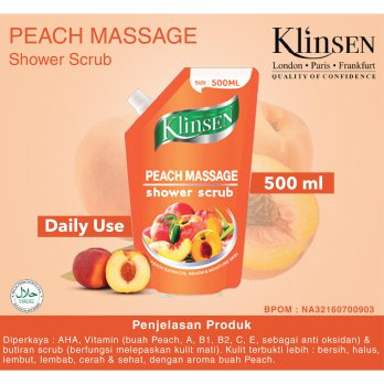 Klinsen Shower Scrub Peach Massage 500ml - Sabun Mandi Cair