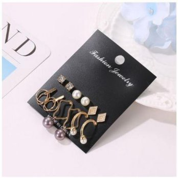 OILA Anting set 6 pasang pearl geometric / set earrings 3D2 jan204