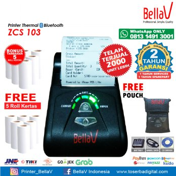 Printer Bluetooth Thermal ZCS 103 support Paytren Kudo I reap + Pouch Biru + 5 Roll Kertas