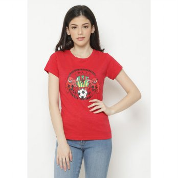 Mobile Power Ladies T-shirt Screen Printing - Red C6816