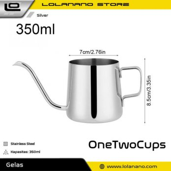 OneTwoCups Teko Pitcher Kopi Teh Teapot Drip Kettle Cup Stainless Steel 350ml - AA0049 - Silver