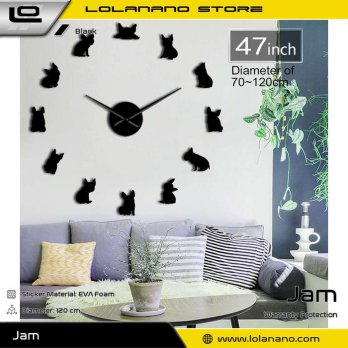 Jam Dinding Besar DIY Giant Wall Clock Quartz Creative Design 120cm Model French Bulldog - DIY-211 -