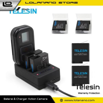 Telesin Charger Baterai 2 Slot + Charger WiFi Remote Control with 2xBattery for GoPro Hero 5/6/7 - G
