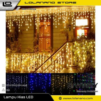 RAYWAY Lampu Gorden Dekorasi Icicle String Fairy Light 5M 96 LED - 300L - Warm White
