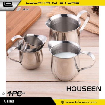 HOUSEEN Gelas Pitcher Kopi Espresso Latte Art Milk Jug Stainless Steel 240ml - DLSC060 - Silver