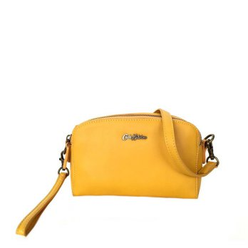 Tas Cath Kidston Original Mini Double Zip Leather Crossbody - Yellow